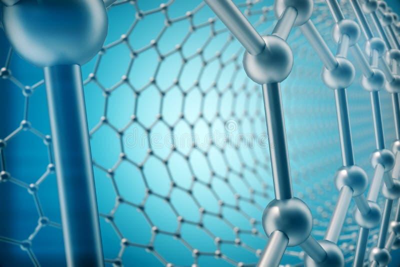 Framförande närbild för form för abstrakt rörnanoteknik av sexhörnig geometrisk, molekylär struktur för begreppsgraphene vektor illustrationer