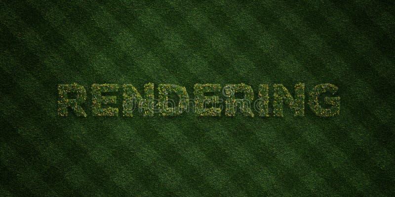 FRAMFÖRANDE - nya gräsbokstäver med blommor och maskrosor - av 3D framförde fri materielbild för royalty stock illustrationer