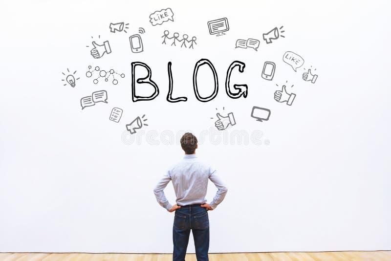 framförd begreppsbild för blog 3d arkivbilder