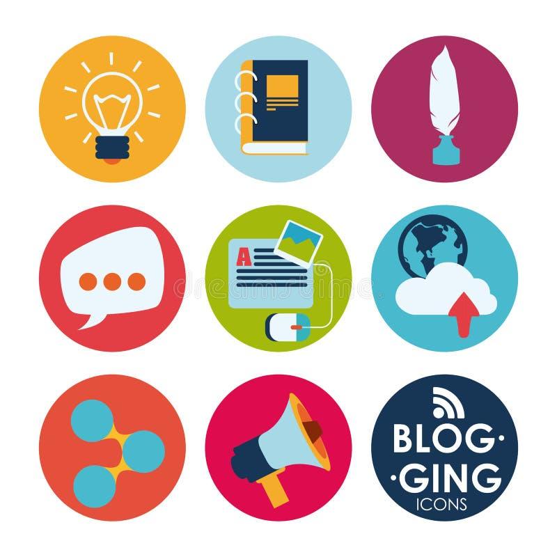 framförd begreppsbild för blog 3d stock illustrationer