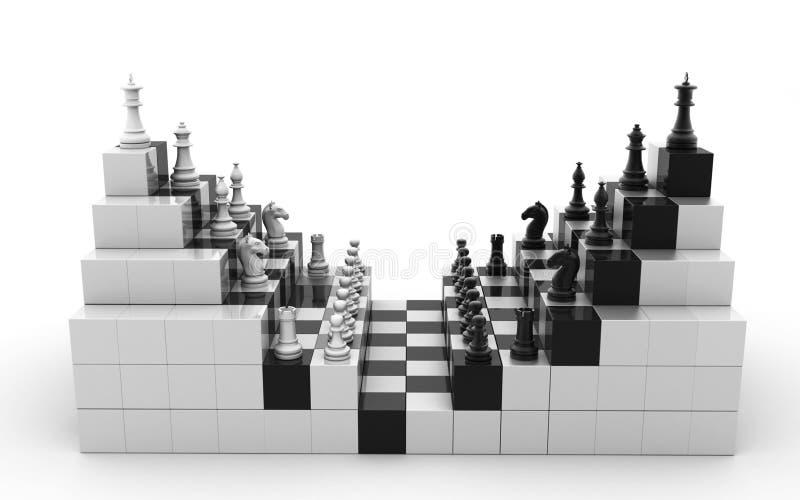 framförd 3d ställde in av isolerade schackdiagram på en vit bakgrund stock illustrationer