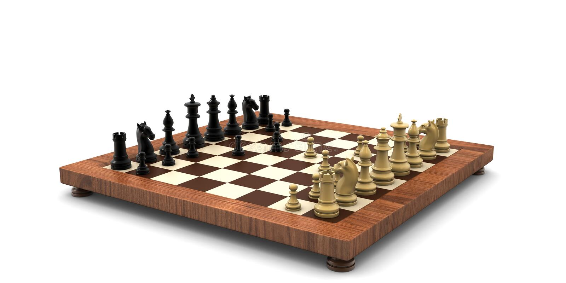 framförd 3d ställde in av isolerade schackdiagram på en vit bakgrund arkivfoto