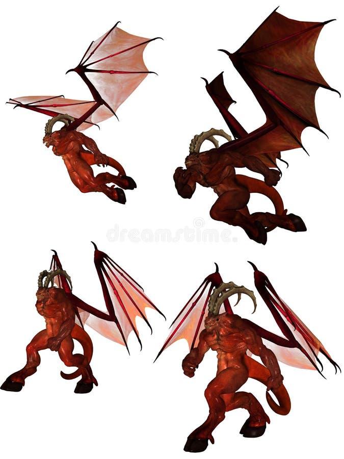 framförd demon 3d royaltyfri illustrationer