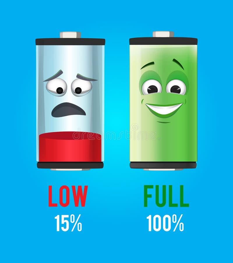 framförd illustrationbild för begrepp 3d Batteritecken med den fulla och låga laddningen Vektormaskotdesign royaltyfri illustrationer