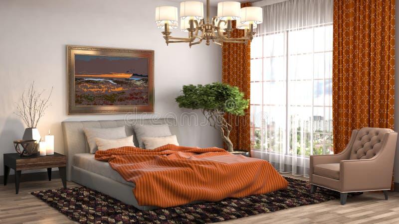 framförd inre blixt för omgivande sovrum 3d illustration 3d royaltyfri illustrationer