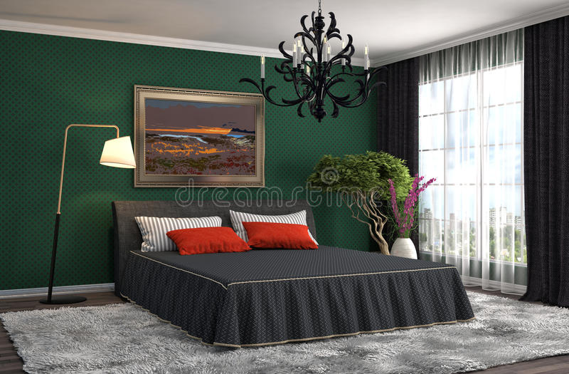 framförd inre blixt för omgivande sovrum 3d illustration 3d stock illustrationer