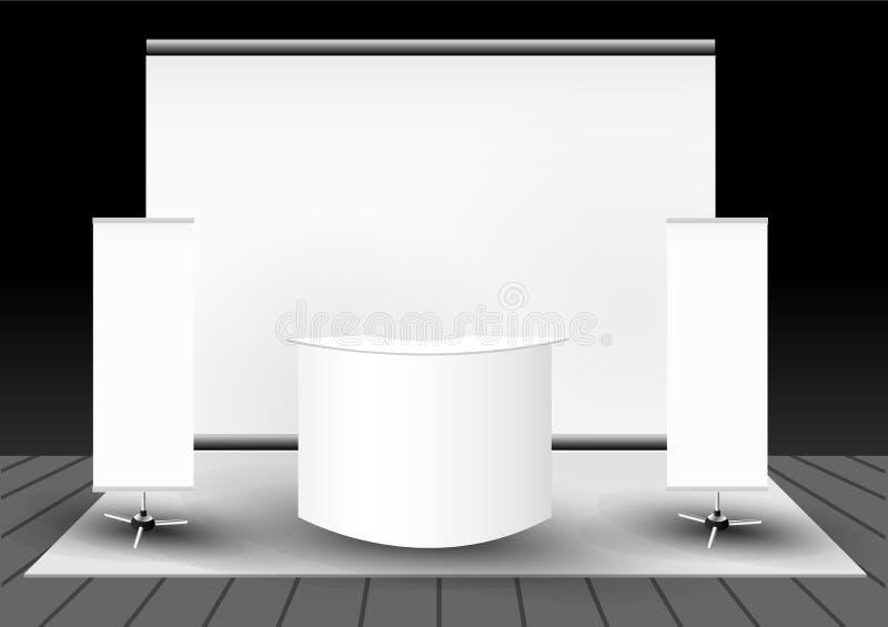 framförd standhandel för utställning 3d illustration royaltyfri illustrationer