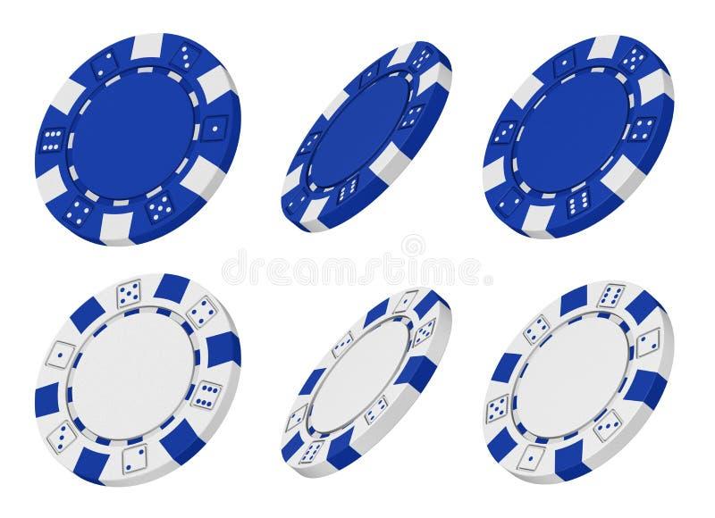 framförde blåa chiper för kasino 3d white royaltyfri illustrationer