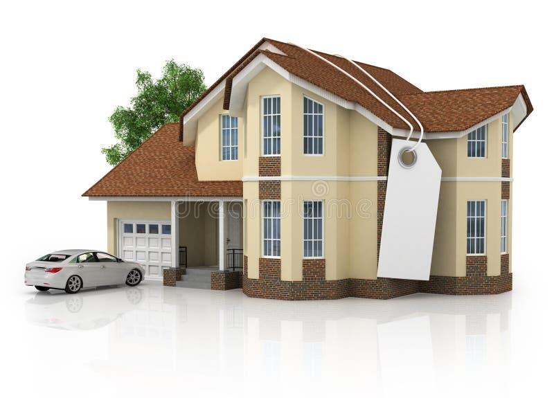 framförde det isolerade generiska huset 3d white royaltyfri illustrationer