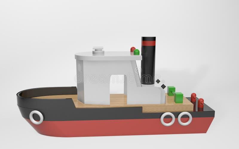 framf?rande 3d leksakbarns fartyget för bogsera gjorde av trä vektor illustrationer