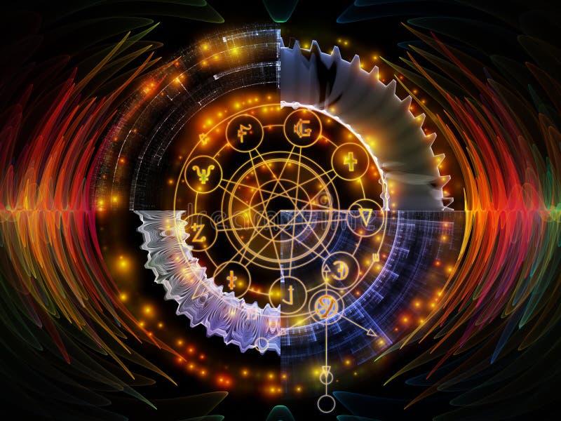 Framflyttning av mystikercirkeln royaltyfri illustrationer