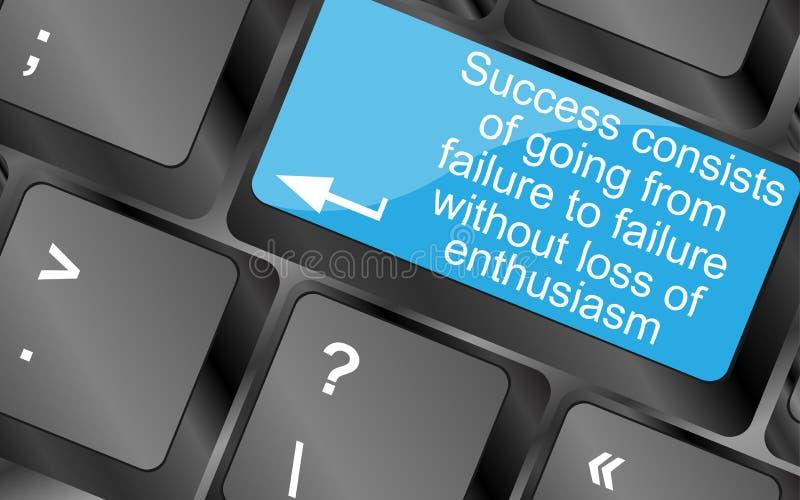 Framgång består av att gå från fel till fel utan förlust av entusiasm stock illustrationer