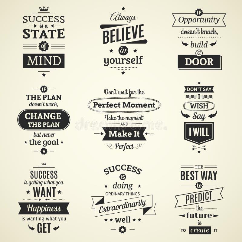 Framgång citerar typografiska affischer royaltyfri illustrationer