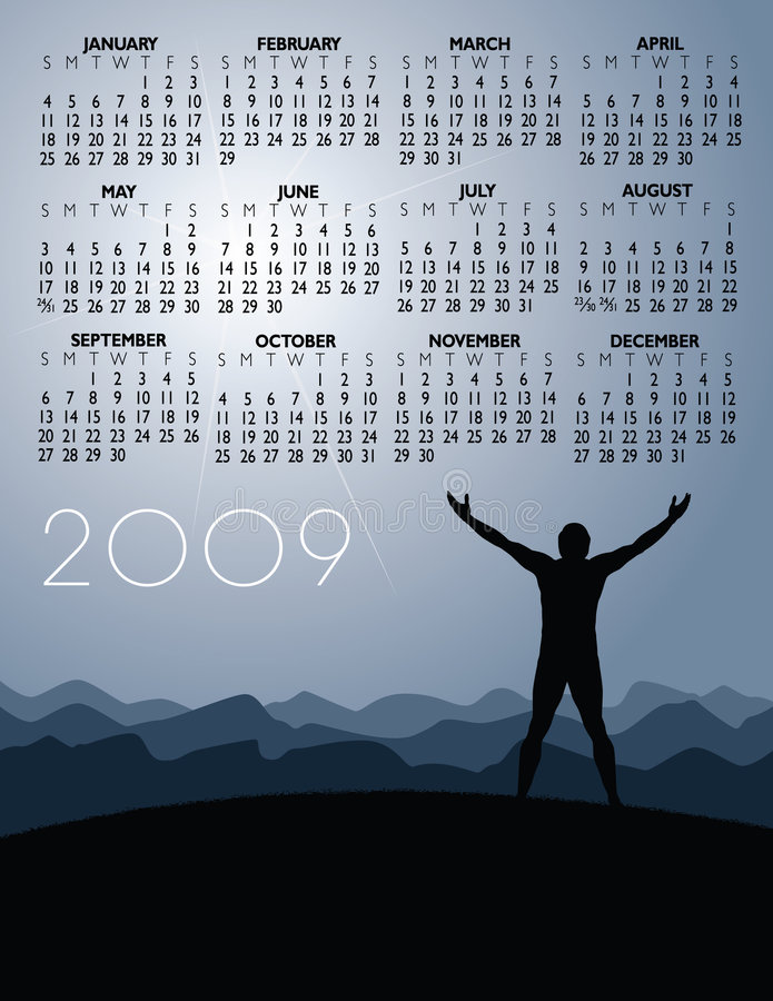 framgång för 2009 kalender vektor illustrationer