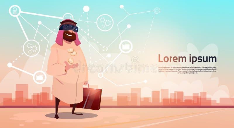 Framgång för affär för extraktion för olja för Rich Arab Businessman Wear Digital exponeringsglasvirtuell verklighet royaltyfri illustrationer