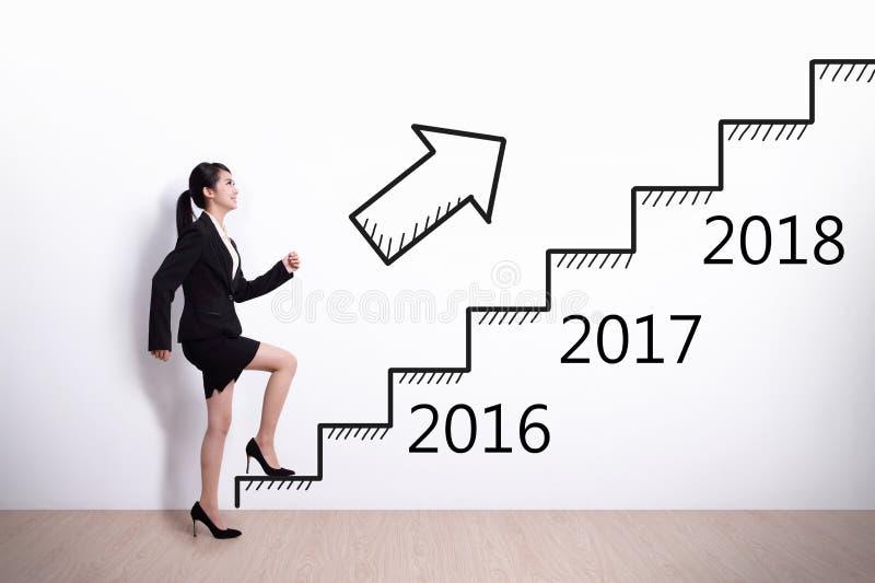 Framgång för affärskvinna i nytt år royaltyfria foton