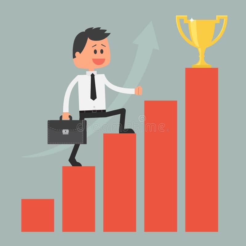 framgång för affärsmanklättringstege till Motivation royaltyfri illustrationer