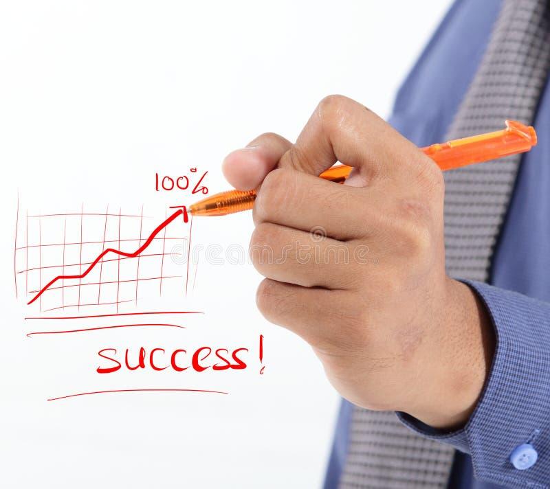 Framgång för handstil för affärsman med vinstdiagrammet royaltyfri bild