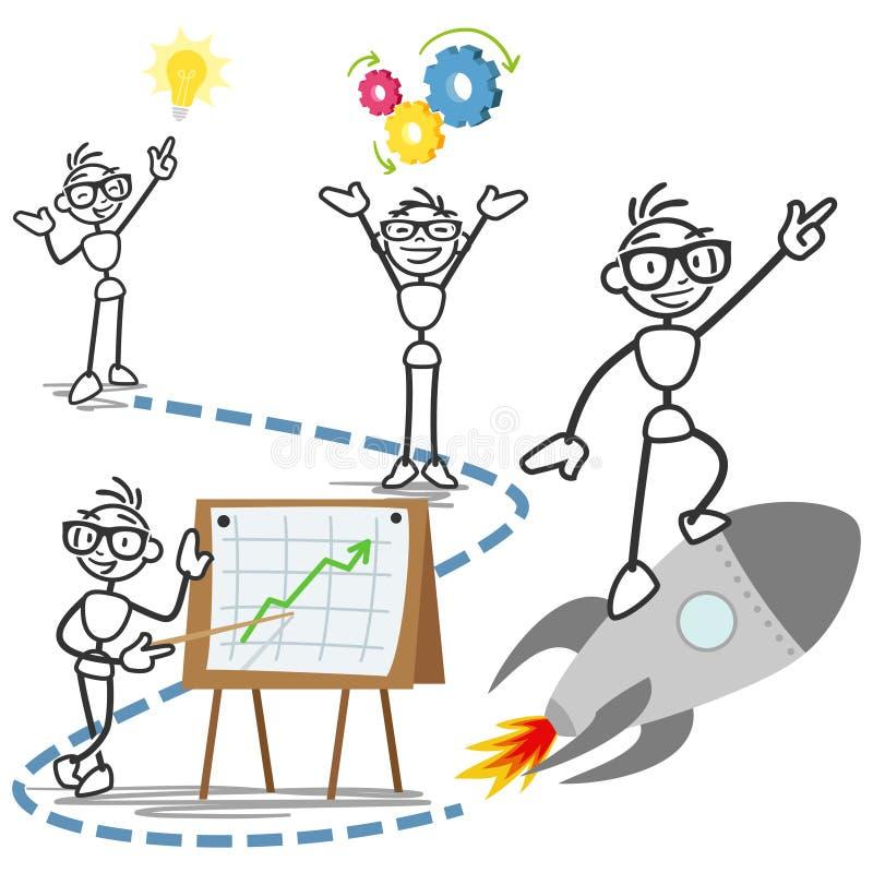 Framgång för idé för affär för begrepp för vektorpinneman stock illustrationer