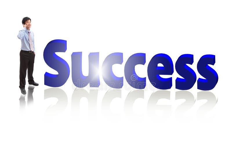 framgång för mobil telefon för affärsman talande royaltyfri bild