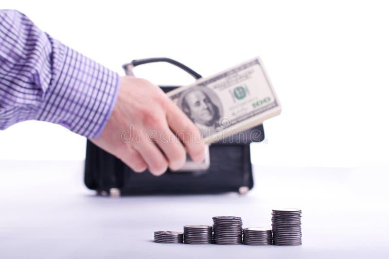 framgång för payday för dollarsedelhandpengar arkivbild