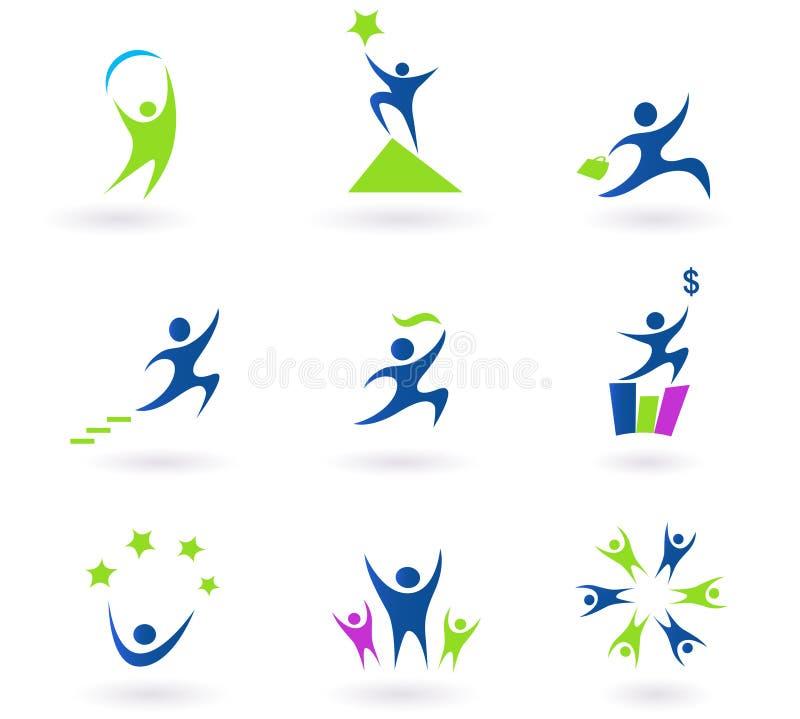 framgång för symboler för affärssamling mänsklig vektor illustrationer