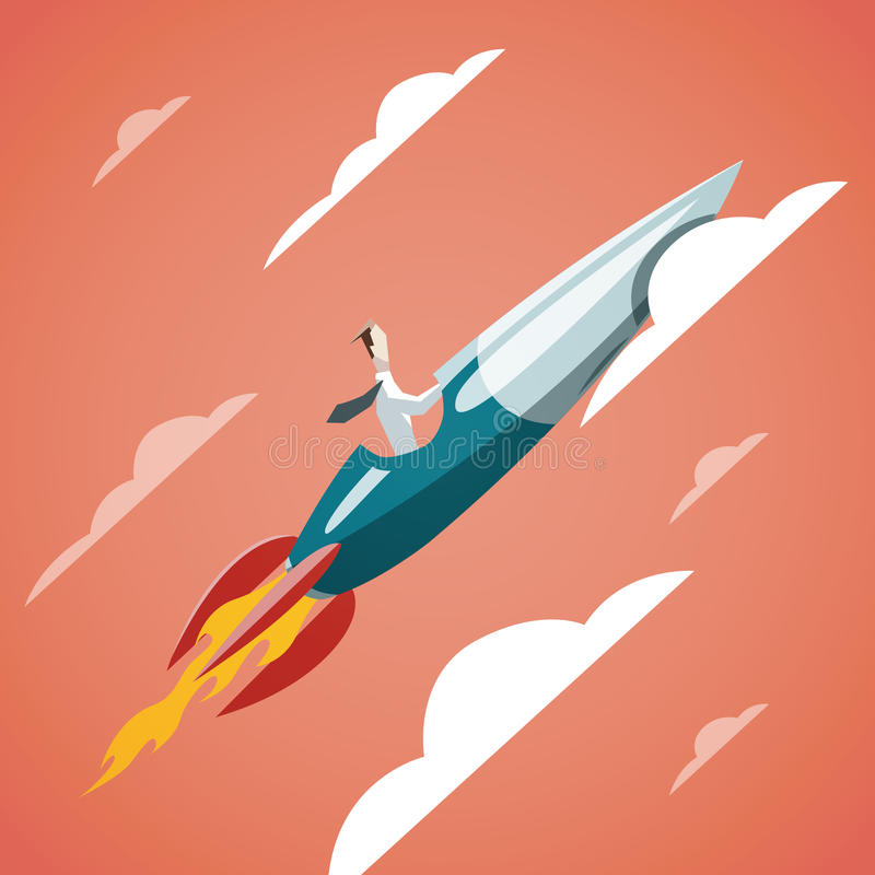 Framgång i affär - affärsmannen flyger på raket upp in stock illustrationer