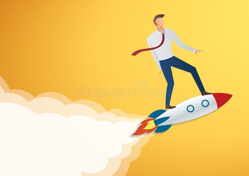 framgång i affär startar upp affärsmannen på raketvektor royaltyfri illustrationer