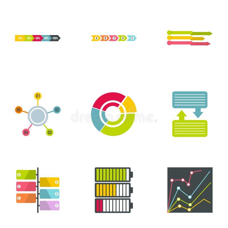 Framgång i affärssymboler ställde in, plan stil stock illustrationer