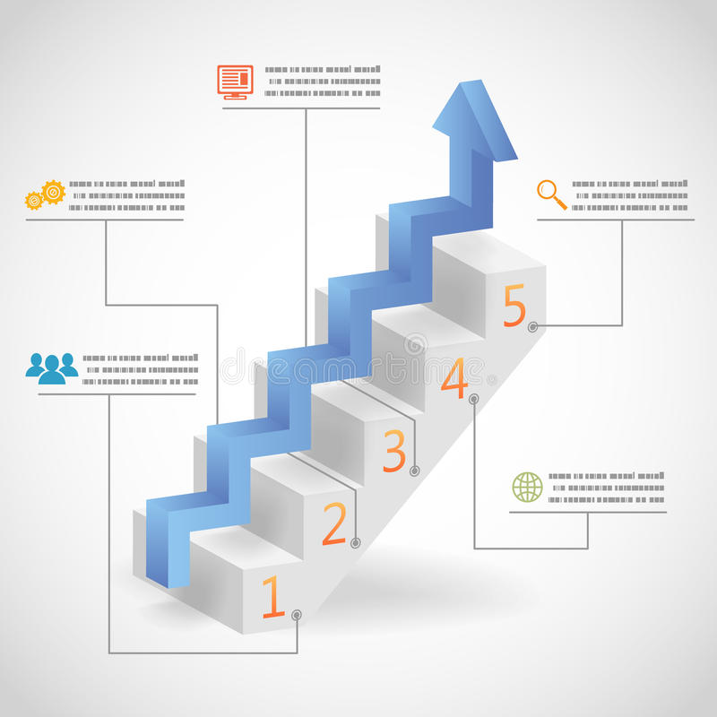 Framgång kliver begreppspilen och illustrationen för vektor för trappuppgångInfographic symboler stock illustrationer