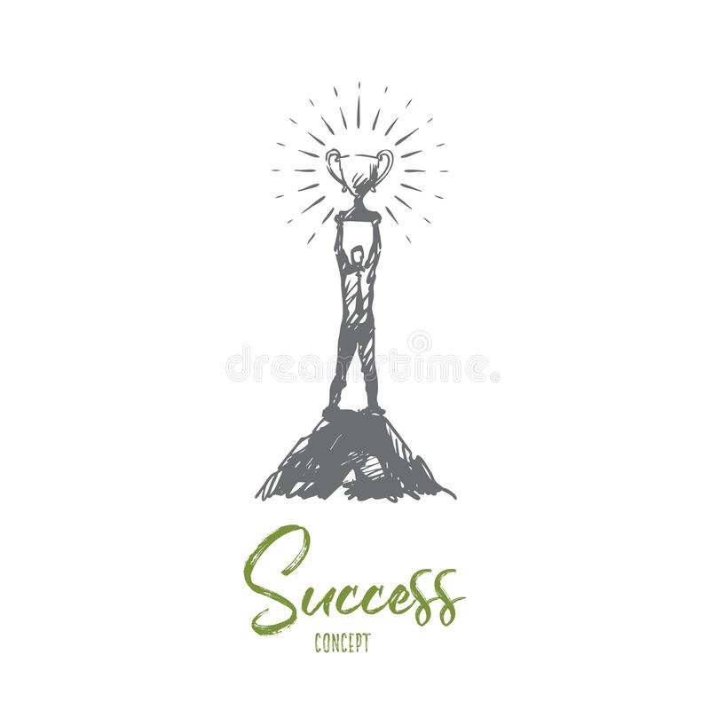 Framgång ledarskap, mål, seger, vinnarebegrepp Hand dragen isolerad vecto vektor illustrationer