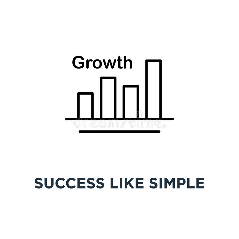 framgång som den enkla tunna tillväxtsymbolen, begrepp för design för grafik för logotyp för ökning för trend för symbolkontursti stock illustrationer
