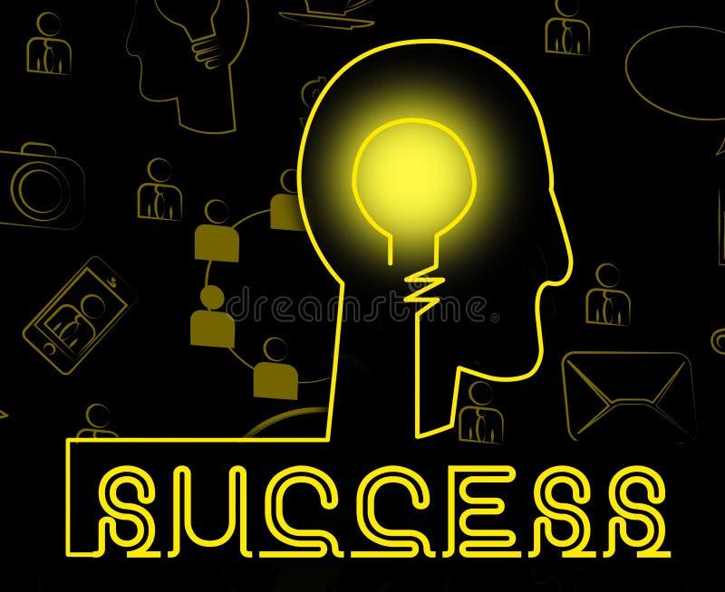 FramgångBrain Indicates Successful Progress And segra royaltyfri illustrationer