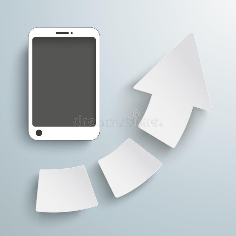 Framgångpil 3 stycken Smartphone stock illustrationer