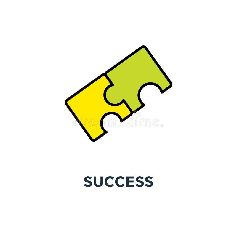 Framgångsymbol samarbete monterar pusslet, samarbetsväxelverkan, designen för lösningsbegreppssymbolet, sammanlänkningen, teamwor stock illustrationer