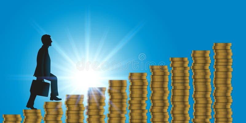 Framgångsymbolet, en man klättrar en mynttrappuppgång stock illustrationer