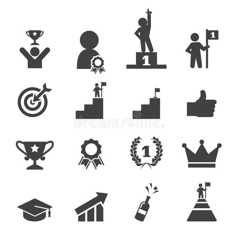 Framgångsymbolsuppsättning royaltyfri illustrationer