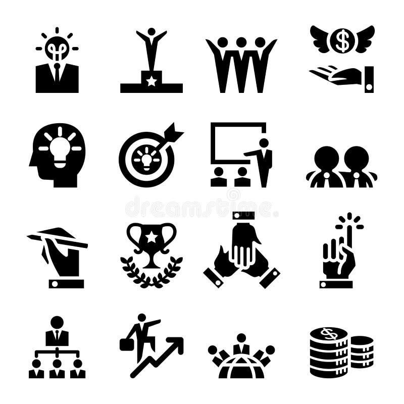 Framgångsymbolsuppsättning stock illustrationer