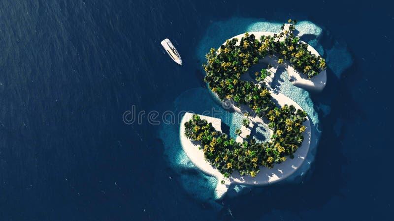 Framgångväg Tropisk ö i form av dollar vektor illustrationer