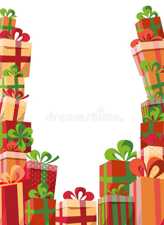 Framing of gift boxes gift boxes. Mountain gifts from three sides. Beautiful Christmas present box with bow. Vector template of royalty free illustration
