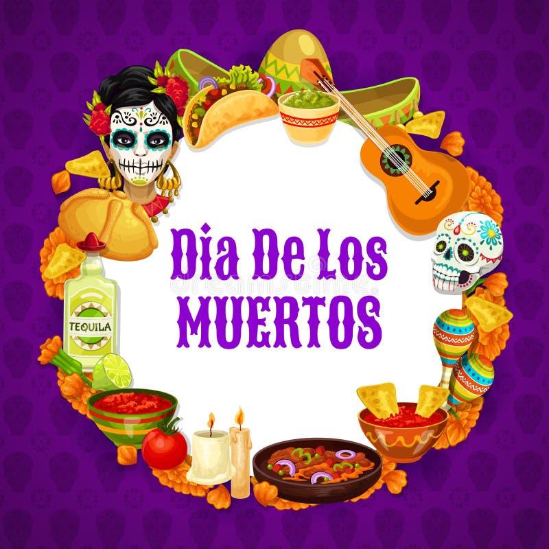 Framing mexican symbols, dia de los muertos signs. Dia de los muertos signs in round frame, Day of dead mexican holiday. Vector Frida Catrina, burritos and stock illustration