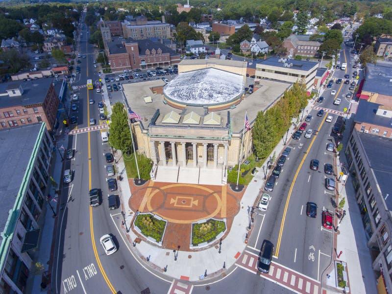 Framingham香港大会堂鸟瞰图,马萨诸塞,美国 免版税库存照片