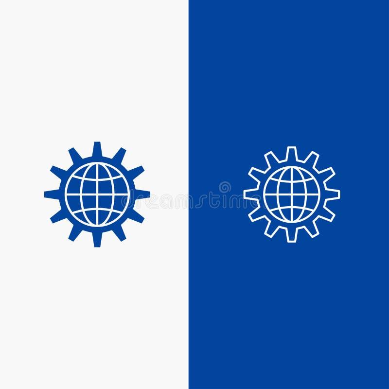 Framkalla, för utveckling, för kugghjul, för arbete, för världslinje och för skåra blått för den blåa för baner för fast symbol s stock illustrationer