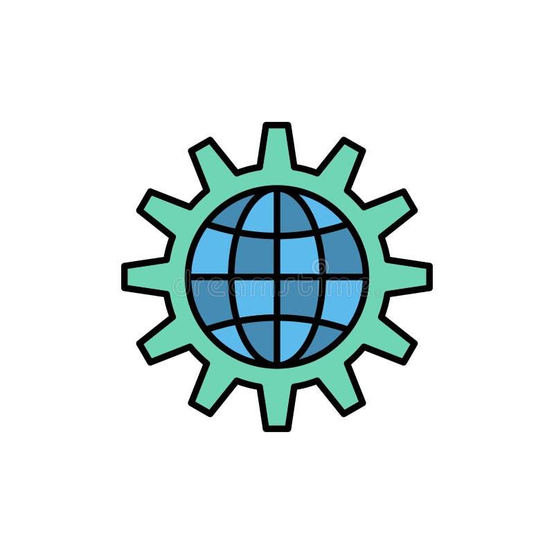 Framkalla, utveckling, kugghjulet, arbete, plan färgsymbol för värld, globalt affär Mall för vektorsymbolsbaner stock illustrationer