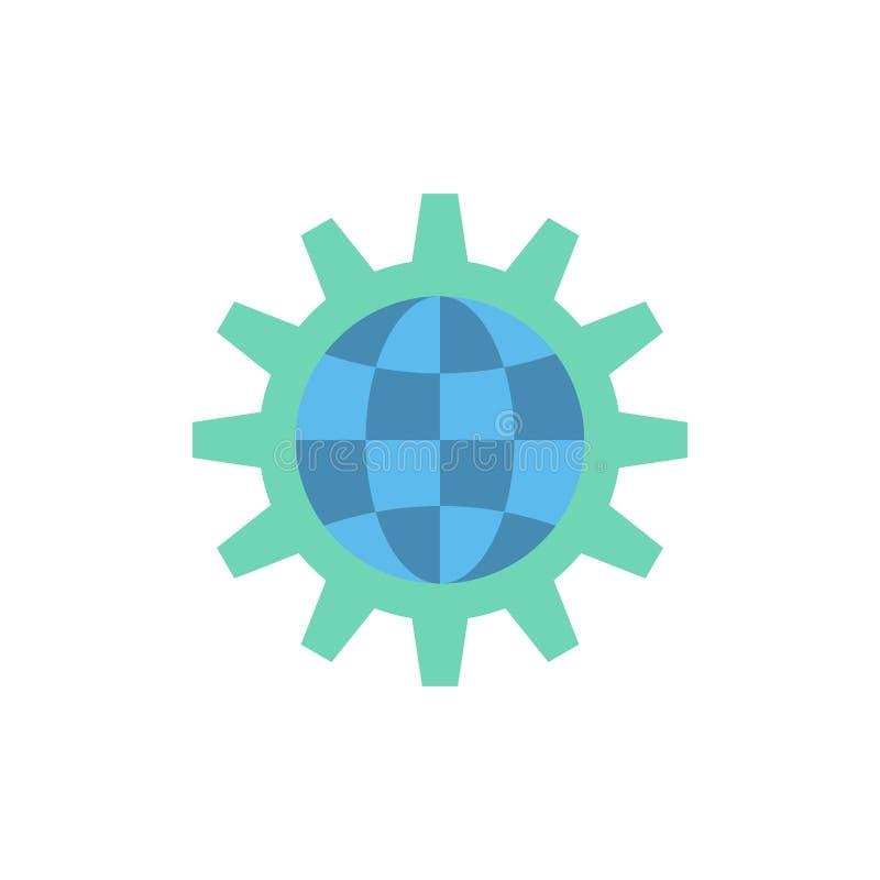 Framkalla, utveckling, kugghjulet, arbete, plan färgsymbol för värld, globalt affär Mall för vektorsymbolsbaner royaltyfri illustrationer