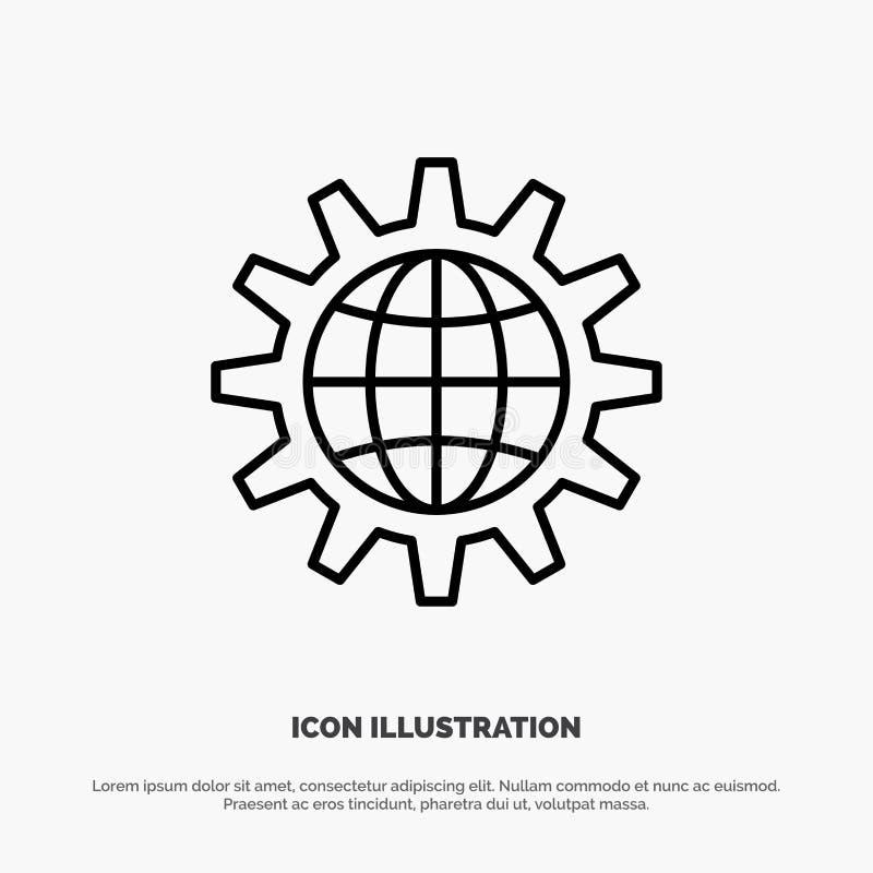 Framkalla, utveckling, kugghjulet, arbete, världslinjen symbolsvektor, globalt affär stock illustrationer