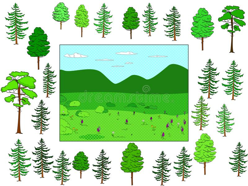 Framkallande barn spelar, klippte och satte på plats Bakgrund av den naturliga skogen och gläntan, objekt av träd vektor vektor illustrationer