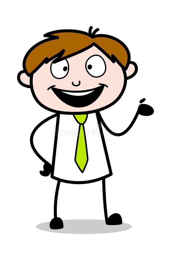 Framlägga - kontorsrepresentantEmployee Cartoon Vector illustration royaltyfri illustrationer