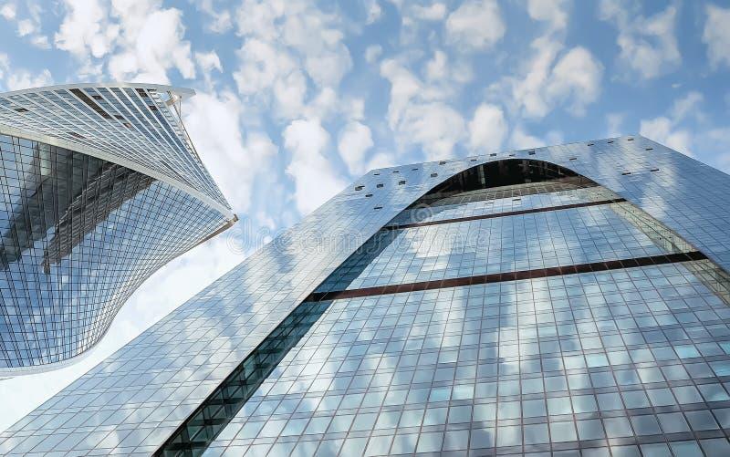 Frammento dei grattacieli di vetro blu fotografia stock libera da diritti