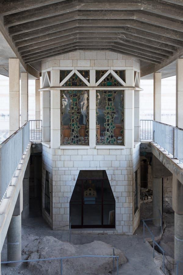 Frammento del cortile della basilica dell'annuncio nella vecchia città di Nazaret in Israele immagine stock libera da diritti